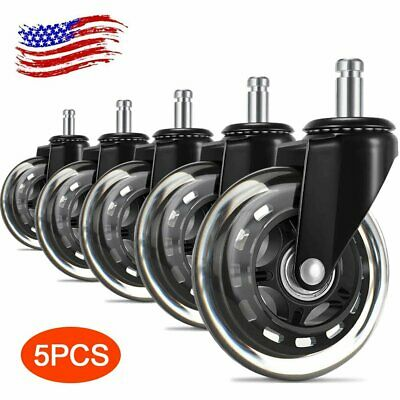 5x Office Chair Caster 3 Swivel Wheels Replacement Heavy Duty Rollerblade Style
