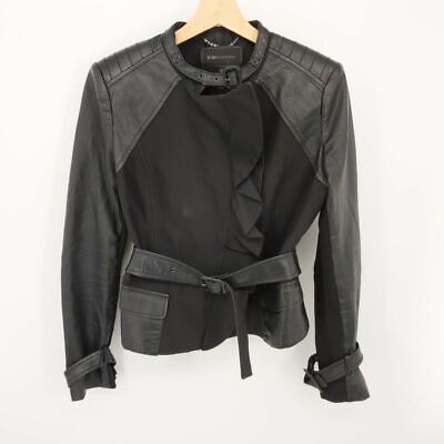 BCBG Maxazria Small Black Belted Round Neck Motorcycle Leather Jacket Womens