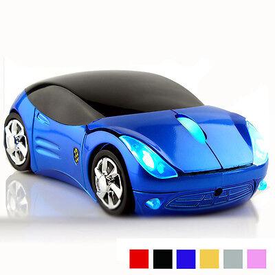 2.4GHz Cordless 3D 1600DPI Ferrari Car Shape Usb Optical Wireless Mouse BLUE UK