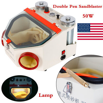 Dental Lab Equipment Twin Double Pen Fine Sandblaster Unit With Lamp 50w
