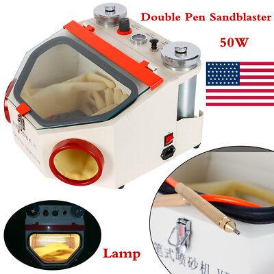 Dental Lab Equipment Twin Double Pen Fine Sandblaster Sand Blaster Unit W Lamp