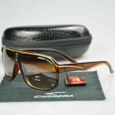 Hot Men's Brown Carrera Sunglasses Ruthenium Pilot Gradient Lens Eye Glasses+Box