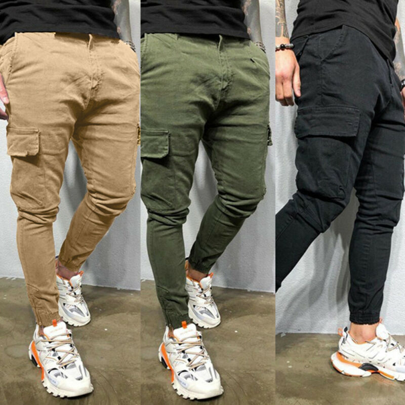 Mens Slim Cargo Pants Skinny Pocket Combat Trousers Casual Biker Bottoms Joggers