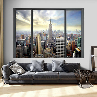 Fenster Poster (3D WANDILLUSION WANDBILD FOTOTAPETE POSTER XXL FENSTERBLICK VLIES c-C-0070-c-a)
