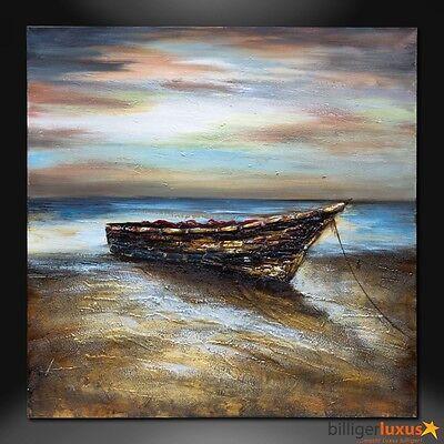 Original Ölgemälde Leinwand Boot Gemälde 101x101 cm Wandbild Boot