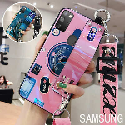 For Samsung Galaxy S20 S10 Luxury Camera Stand Holder Lanyard Phone Case Cover