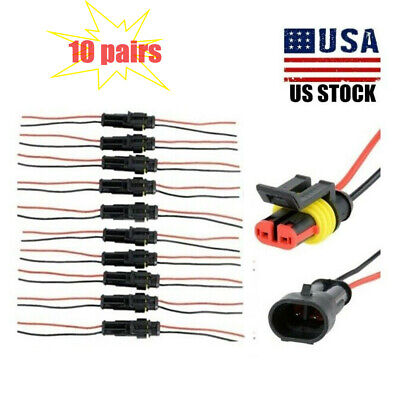 20 Pcs 2-pin Car Waterproof Male Female Two Way Electrical Connector Plug Wire