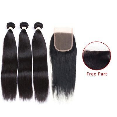 3 Bundles of Virgin Remy Brazilian Hair Straight 14In16In18In With Lace