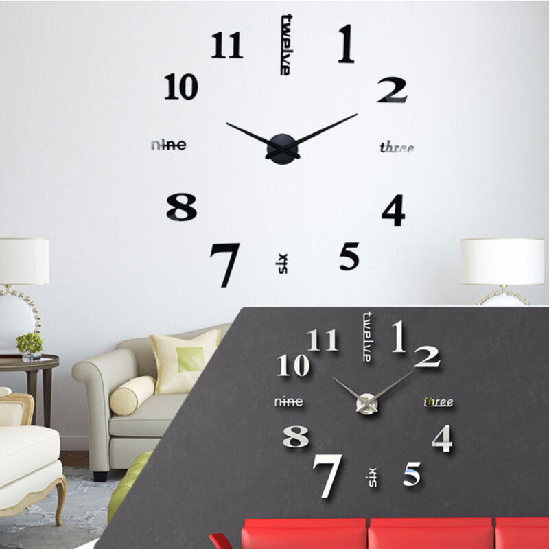 Home Decoration - 3D DIY Wall Clock Large Luxury Mirror Design Home Decoration Black & Silver