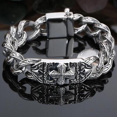 Men's Fashion Stainless Steel Silver Cross Vintage Pattern Chain Biker Bracelet