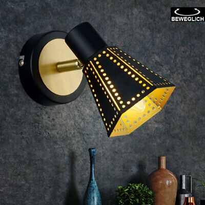 Diseño Aplique Dormitorio Lamparilla Negro Oro Orientable Lámpara Pasillo E14