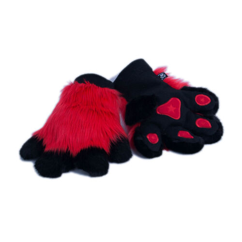 PAWSTAR Pawmitts - Red Furry Partial Fursuit Costume Paws Mascot Gloves [RD]3180