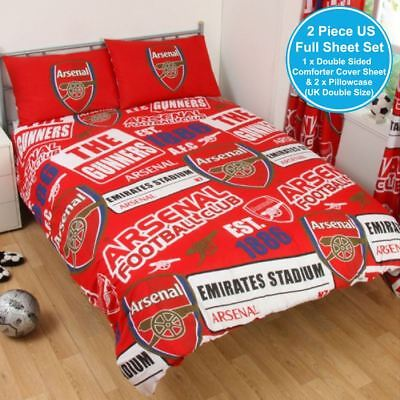 ARSENAL FC PATCH UK DOUBLE / US FULL UNFILLED DUVET COVER & PILLOWCASE SET NEW ()