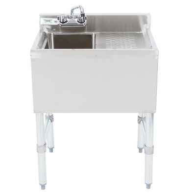 1 Bowl Stainless Steel Underbar Sink With Right Drainboard And Faucet