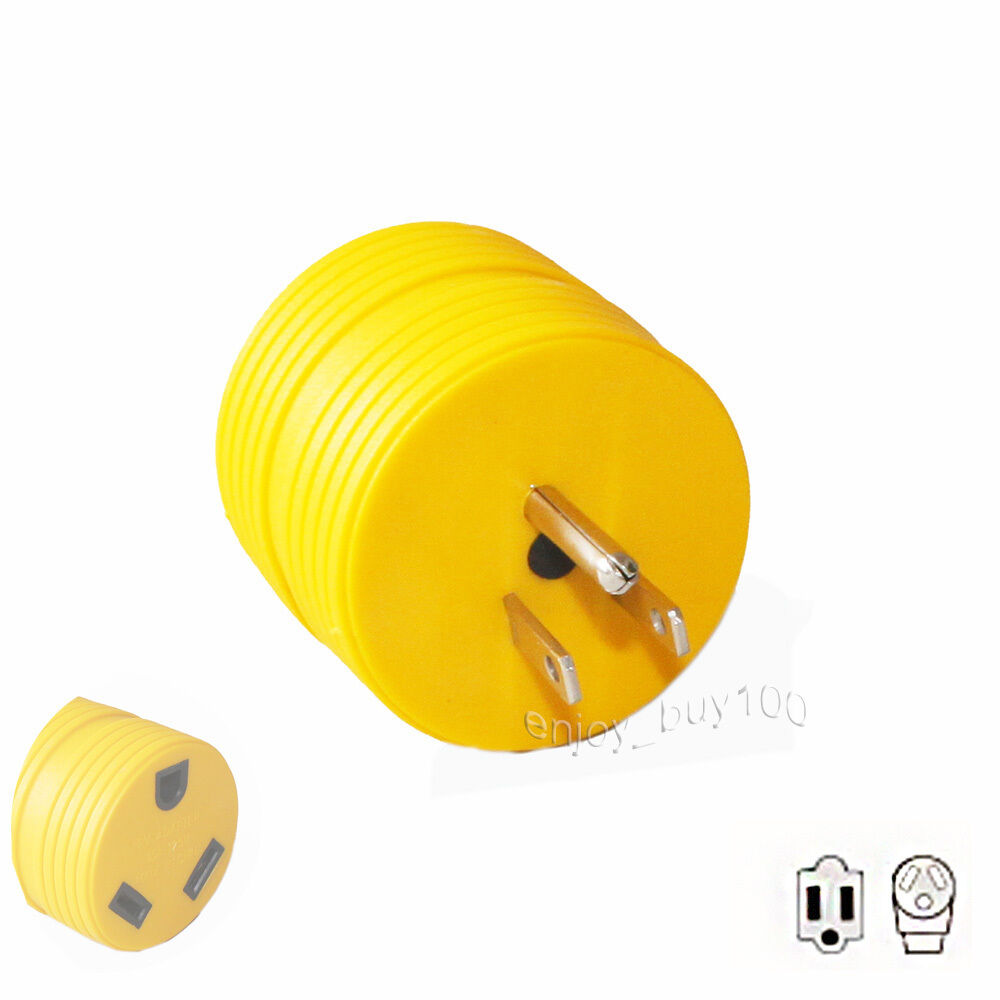 1 RV Electrical Power Adapter Connector Plug 15A Male to 30A Female Round