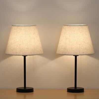 Set of 2 Modern Table Reading Lamp Desk Light Black Bedside With Fabric Shade 2 Table Lamp Set