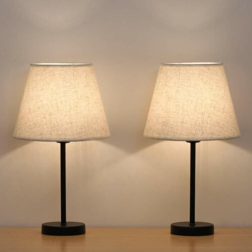 Set of 2 Modern Table Reading Lamp Desk Light Black Bedside
