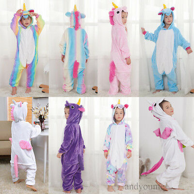 Rainbow Costume Child (Kids Rainbow Unicorn Kigurumi Animal Cosplay Costume  Pajamas Sleepwear)
