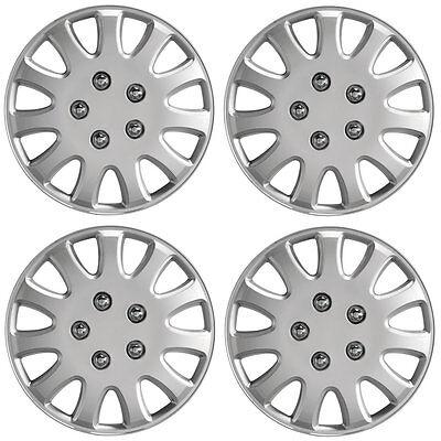 "Ikon 14"" Car Wheel Trims Hub Caps Plastic Covers Set of 4 Silver Universal"