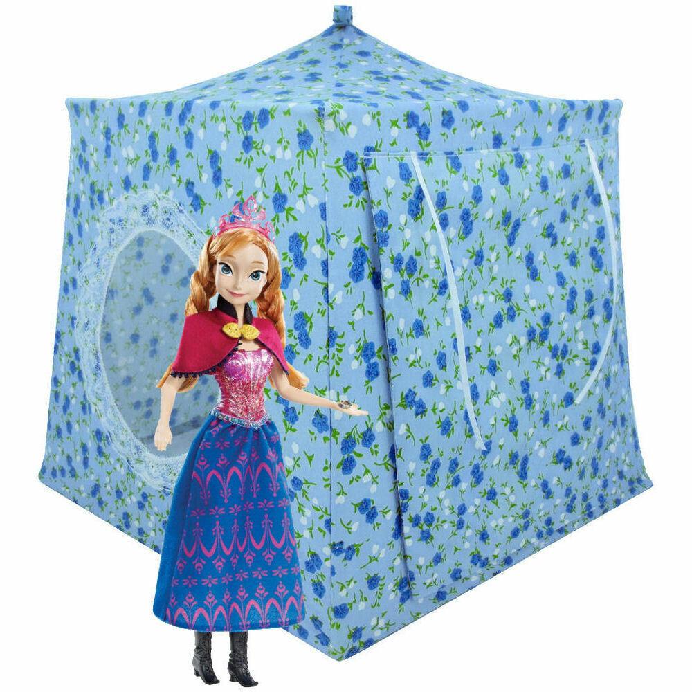Light Blue, Flower Print Toy Play Pop Up Camping Tent, 2 Sleeping Bags, Handmade - $26.95
