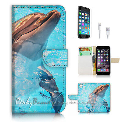 ( For iPhone 7 ) Wallet Case Cover P2941 Dolphin