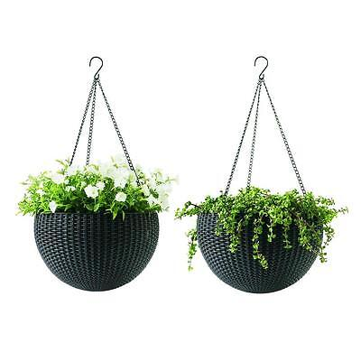 2x Hanging Rattan Planter Flower Pot Basket Chain Porch Outdoor Garden Balcony - Baskets Wholesale