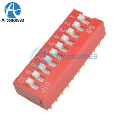10pcs Slide Type Switch Module 2.54mm 10-bit 10 Position Way Dip Red Pitch