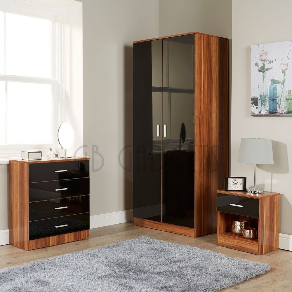 Black Walnut Bedroom Furniture Set High Gloss Wardrobe Chest Bedside 3 Pieces
