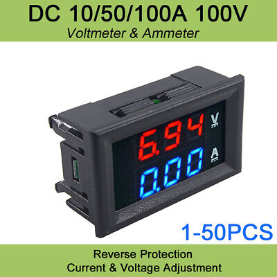 Mini Dc 100v 50a Digital Voltmeter Ammeter Blue Red Led Volt Amp Meter Gauge Us