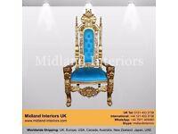 2 x NEW Lion King Queen Wedding Throne Chair - Gold & Blue (150cm, Luxury Asian Gothic Antique Chic
