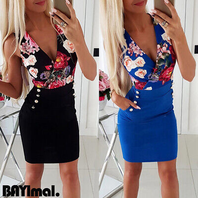 Womens Floral V Neck Mini Dress Ladies Casual Office Sleeveless Bodycon Dresses