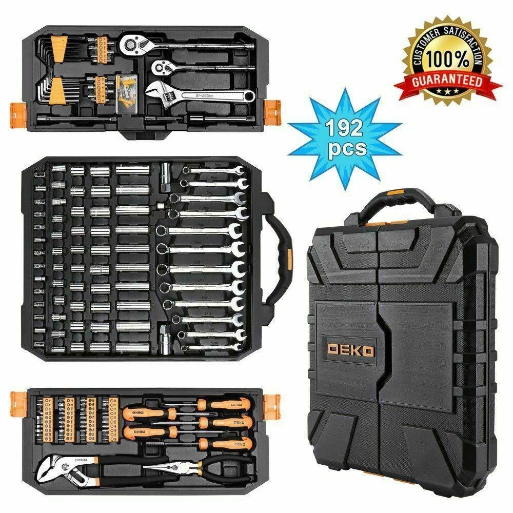 DEKO 192 PCS Tool Set Socket Wrench Set Auto Repair Hand Too
