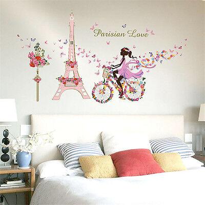 New DIY Flower Fairy Eiffel Tower Bike Removable Wall Sticker Home Room Decor