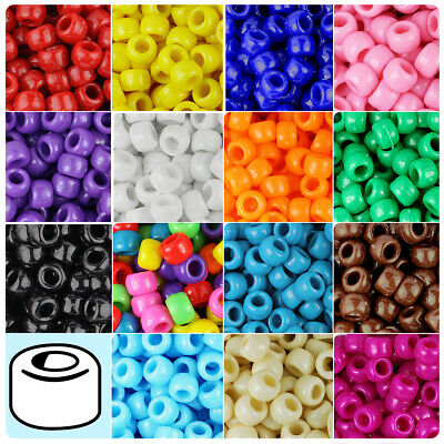 Plastic Beads (100x Opaque 9x6mm Barrel Plastic Pony Beads - Made in the USA - 28 Color)