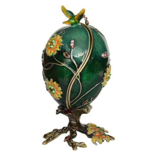 Vintage Faberge Egg Shaped Jewelry Trinket Box Bejeweled Crystals With Surprise