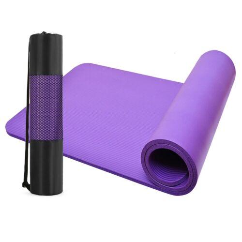 New 12mm Nbr Yoga Mat Eco Friendly Anti Slip 183*61cm Free Carry Bag & Strap Usa