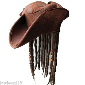 Adult Pirate Hat with Dreadlocks Hair Caribbean Jack Sparrow Fancy Dress Brown