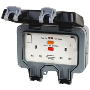 BG Outdoor Double Wall Socket IP66 Weatherproof RCD Protection Trip Switch