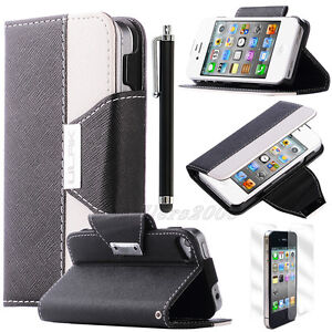 For iPhone 4 4G 4S Hybrid Leather Flip Credit Card Wallet Stand Hard Case Cover