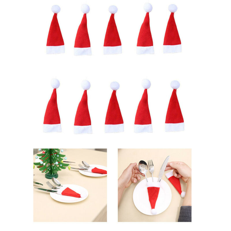 Christmas Decorative tableware Knife Fork Set Christmas Hat Storage Tool Bag