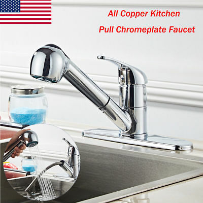 Classic Single Handle Kitchen Sink Faucet Tools w/Pull Out Spray-Stainless Steel Classic Stainless Single Handle