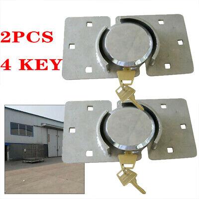 2pcs Heavy Duty Van Garage Shed Door Lock Security Padlock Hasp Set W 4 Key