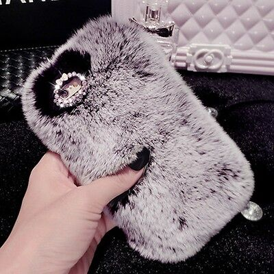 Deluxe Winter Warm Soft Fluffy Rabbit Fur Crystal Bling Case Cover for iPhone Deluxe Soft Case