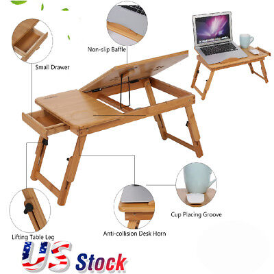 Portable Folding Lap Desk Bamboo Laptop  Tray Natural Bed Table Stand w/ Drawer Lap Desk Table