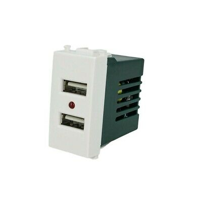PRESA USB X2 90-265V~ 50/60Hz 2.1A 5V 1A 1M BIANCO COMPATIBILE VIMAR...