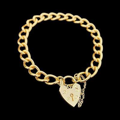 Ladies 18ct Gold gf Heart Lock Bracelet Vintage Padlock Lock Cuban Curb