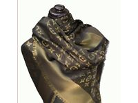 Luis Vuitton Black And Gold Shawl Silk Scarf