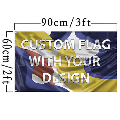 Custom Flag With Your Design 2x3 Feet Size Single Sided With Grommets Free