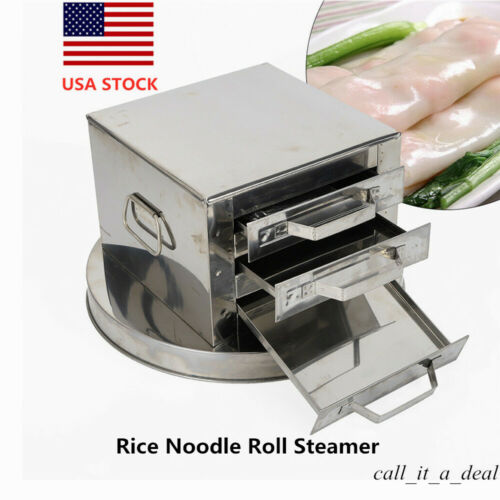 3 Tier Stainless Steel Rice Noodle Roll Steamer Machine Kitc