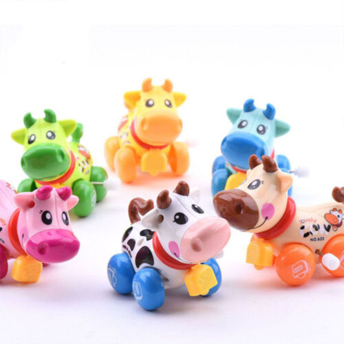 Colorful Wind Up Toy Cartoon Animal Car Clockwork Spring Plastic  Automobile